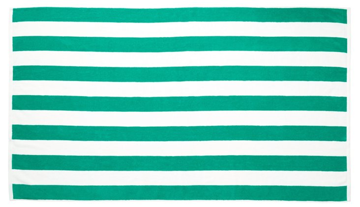Cabana Stripe Beach Towel, Emerald