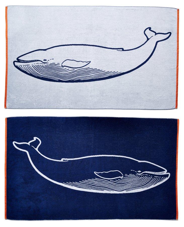 Whale Beach Towel, Midnight/Orange