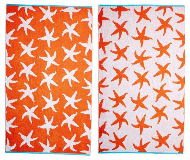Starfish Beach Towel, Orange/Turquoise
