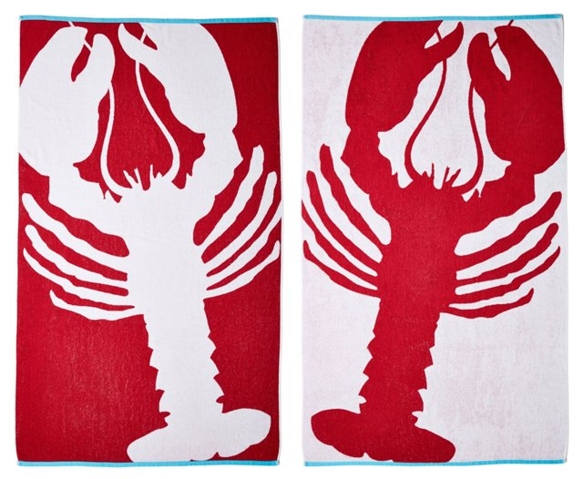 Lobster Beach Towel, True Red/Turquoise