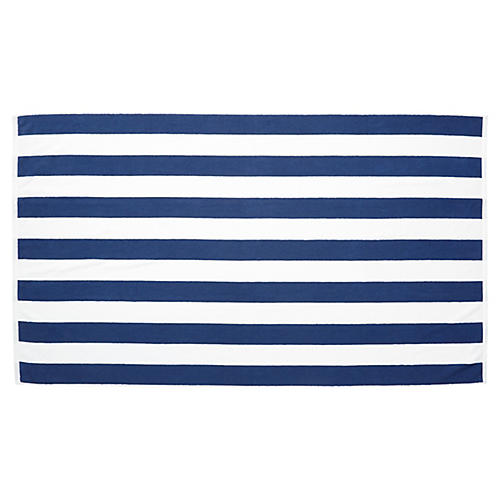 Cabana-Stripe Beach Towel, Midnight Blue