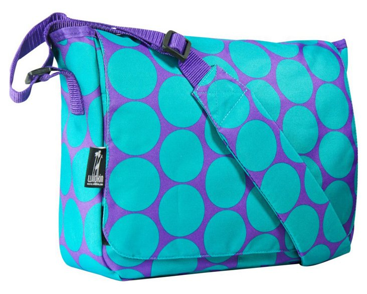 Big Dot Aqua Messenger Bag