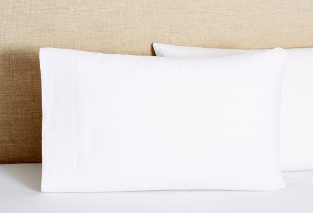 S/2 Linen Pillowcases, White
