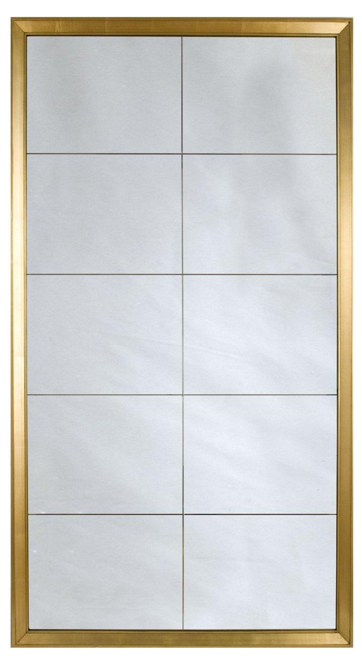 Antiqued Ten-Panel Mirror, Gold