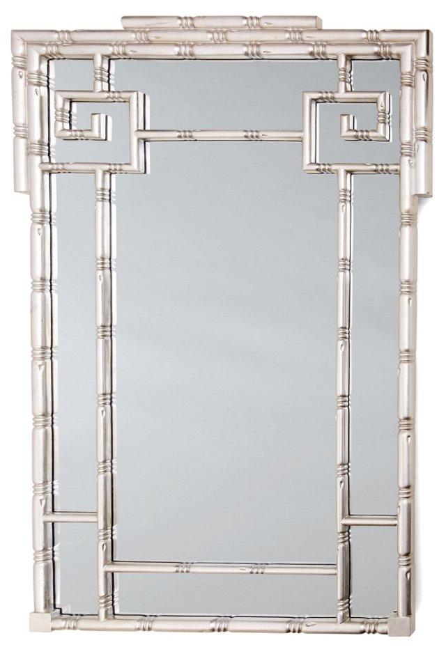 Greek Key Wall Mirror, Silver