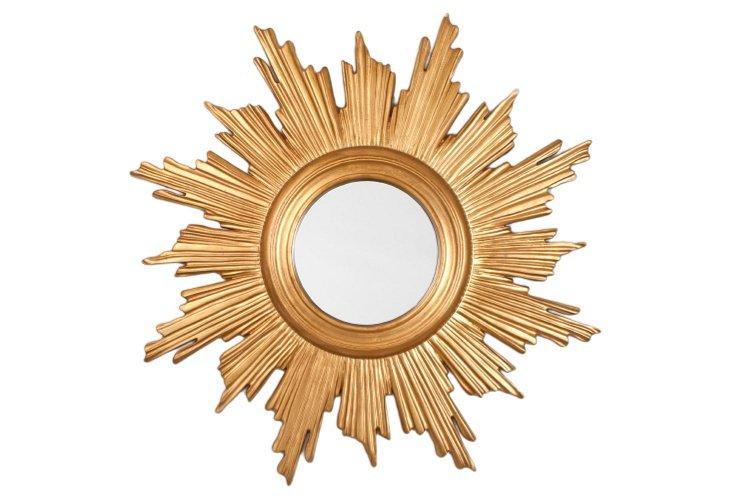 Halo Sunburst Wall Mirror, Gold Leaf