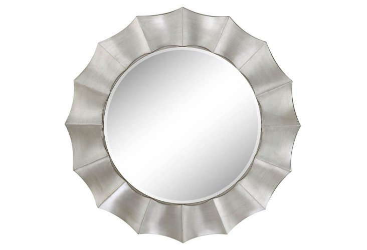Round Scalloped Mirror, Silver