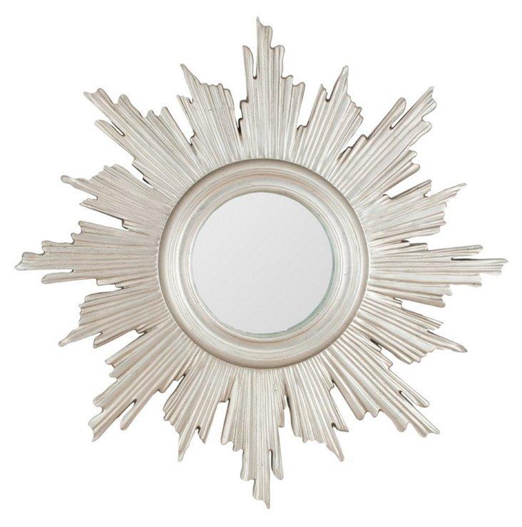 Helena Sunburst Wall Mirror, Silver Leaf