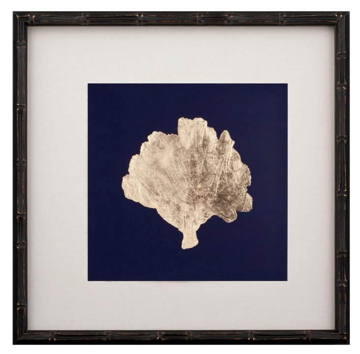 Gold-Leaf Coral on Navy III