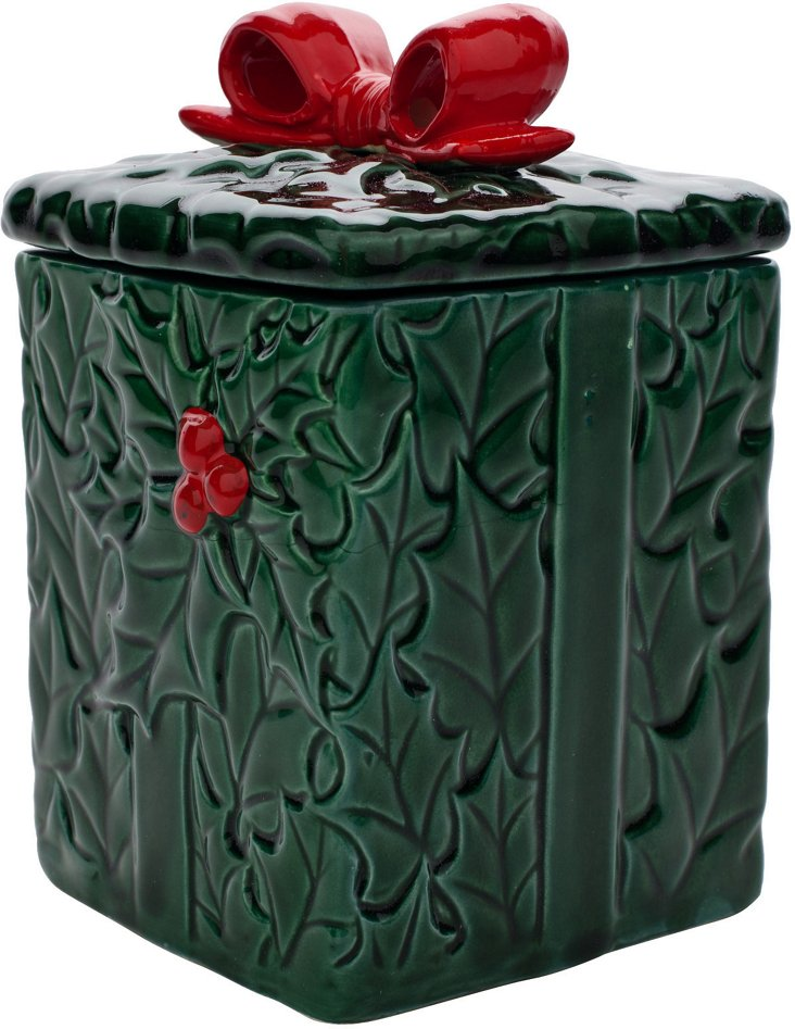 Holly Berry Bow Box Container