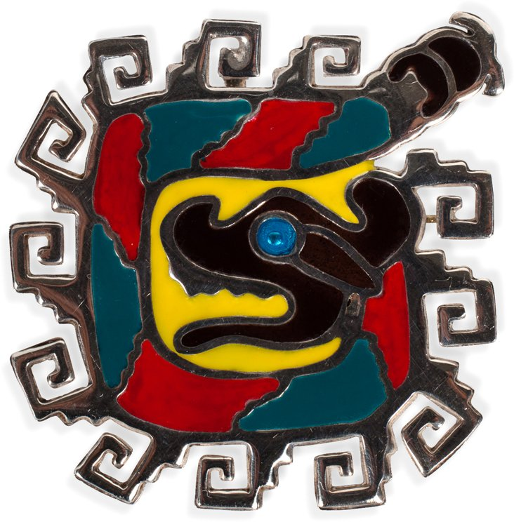 1950s Mayan Serpent Pin
