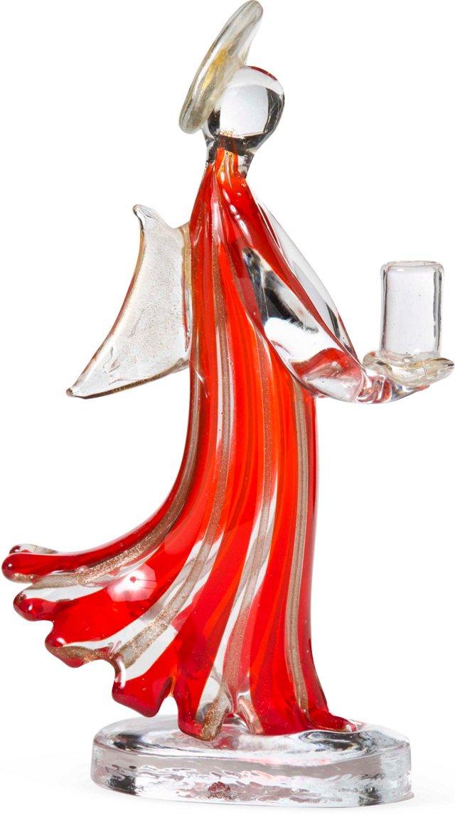 Murano Glass Figural Angel Candle Stick