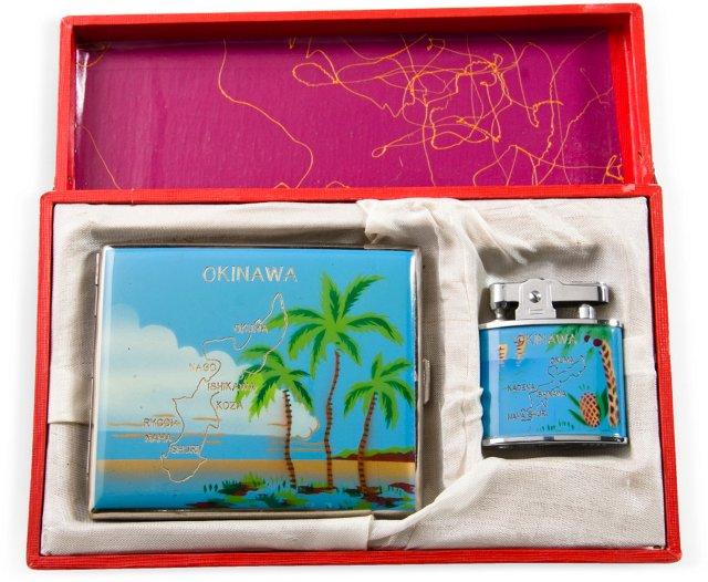 Okinawa Cigarette Case & Lighter