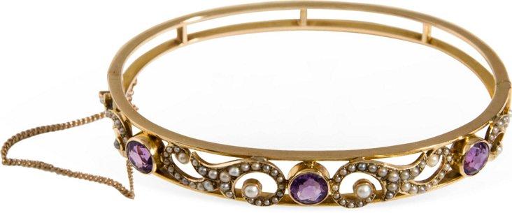 14K Gold Pearl & Amethyst Bracelet