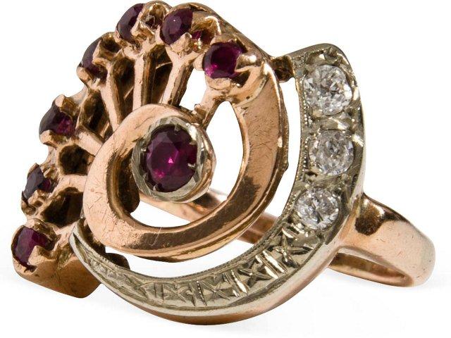 14K Rose Gold, Ruby & Diamond Ring
