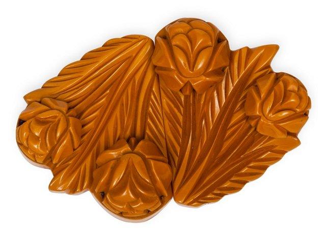 Carved Yellow Bakelite Buckle