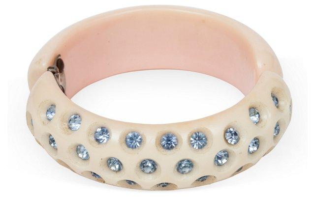 Blue Rhinestone Nylon Bracelet