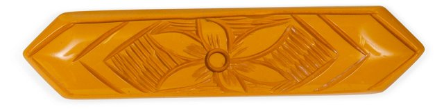 Carved Yellow Bakelite Pin