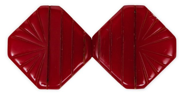Red Carved Geometric Bakelite Buckle