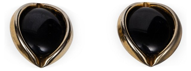 Black Bakelite Elliptical Earrings