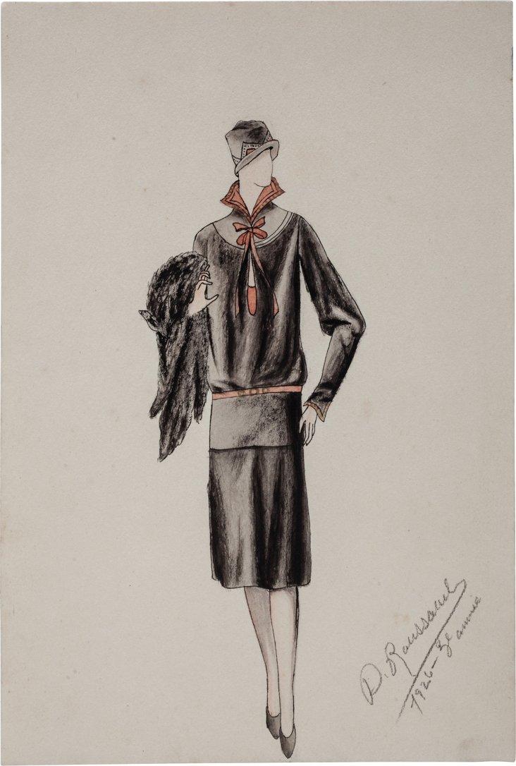 French Fashion Drawing, 1926, XI