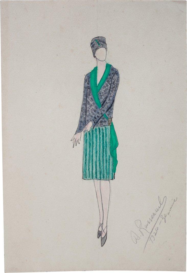 French Fashion Drawing, 1926, XIV