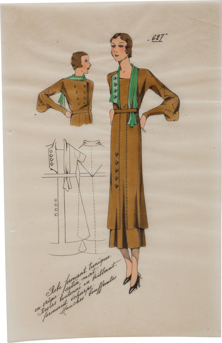 Hand-Colored Fashion Plate, Gold