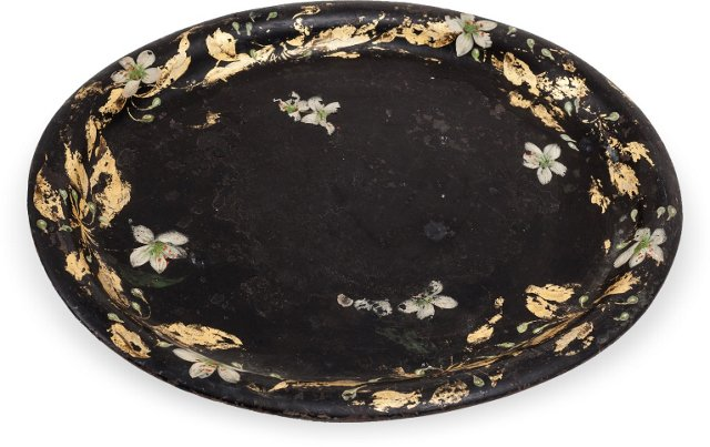 Antique Victorian Black Tole Tray