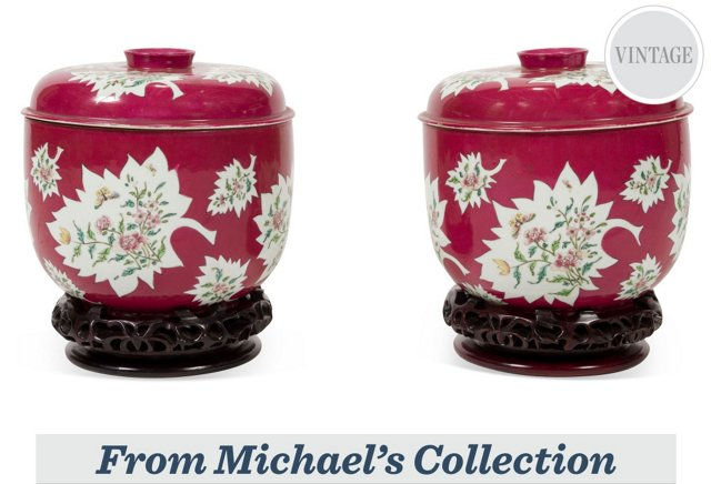 Lidded Bowls on Stands, Pair
