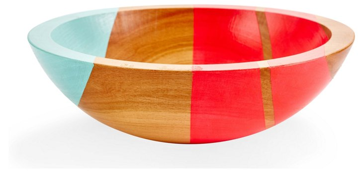 Neon Wood Salad Bowl, Hot Pink