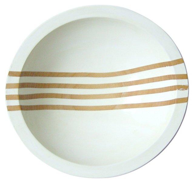 "7"" Gradient Line Wood Bowl, White Bean"