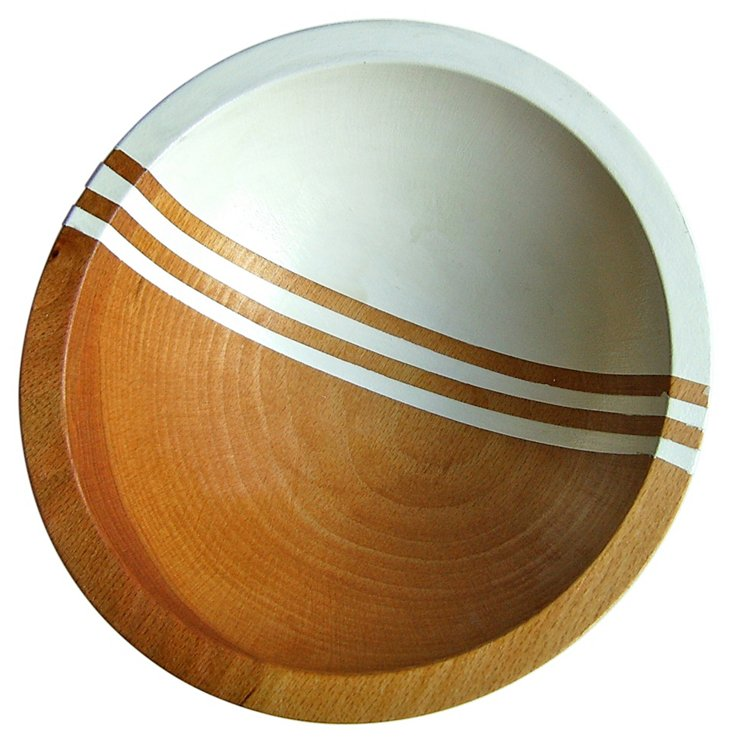"7"" Graphic Wood Bowl, White Bean"
