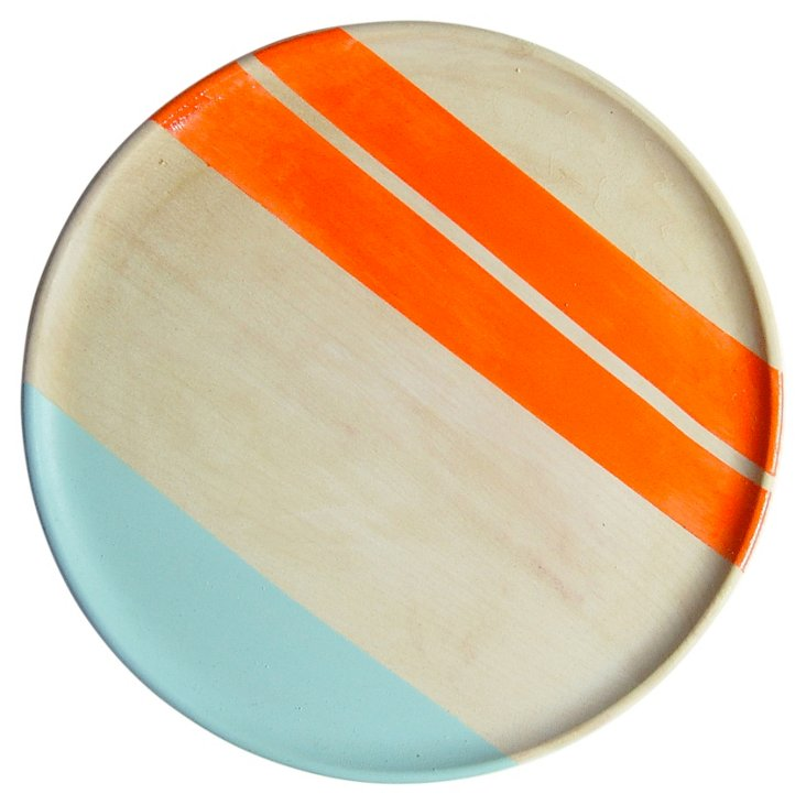"10"" Neon Wood Salad Plate, Orange"
