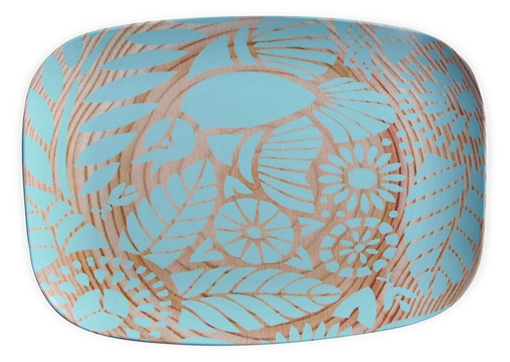 Indian Lace Wood Grain Platter, Teal