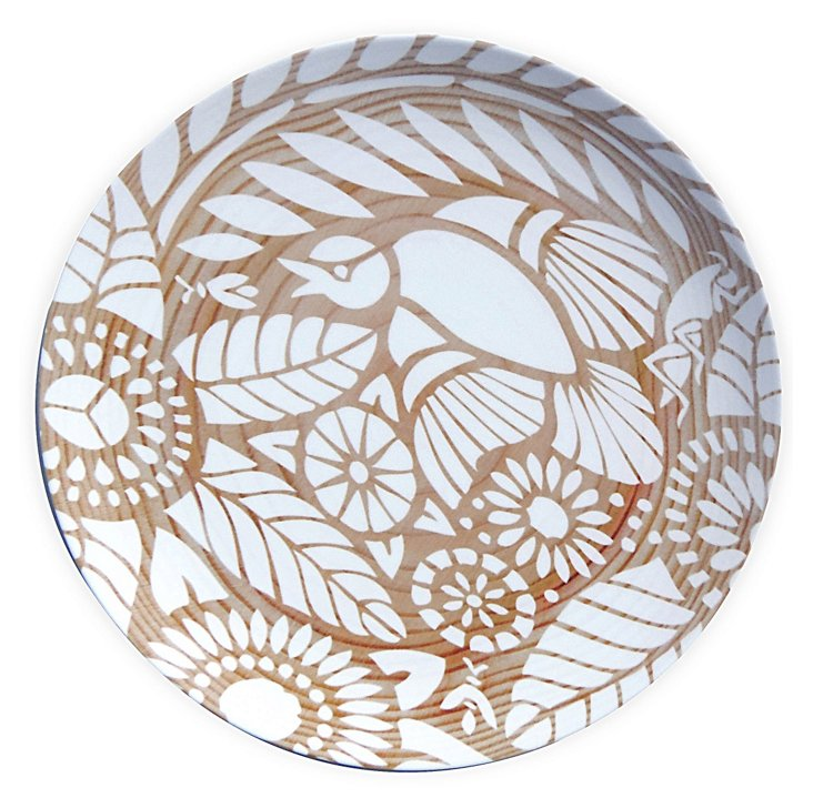 Indian Lace Wood Grain Plate, White