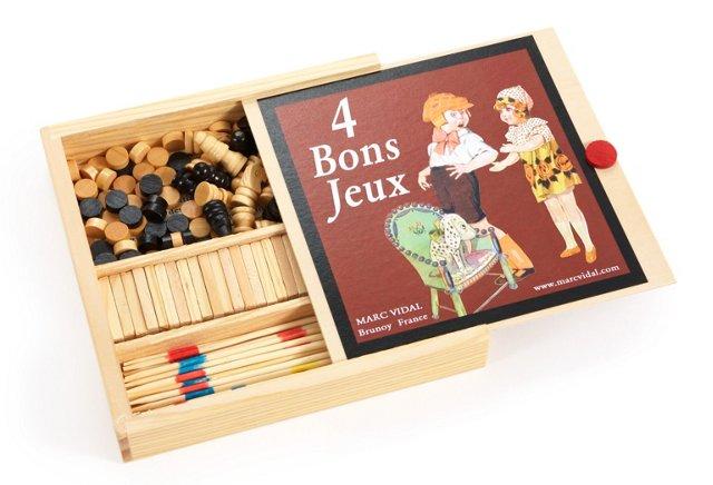 4 Game Wood Box Set