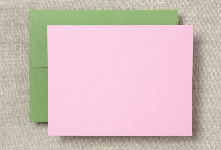 S/20 Note Cards/Envelopes, Pink/Green