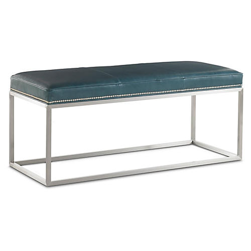 Domino Leather Bench, Teal