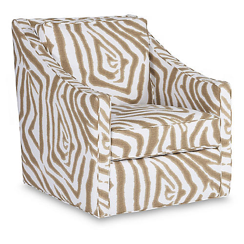 Baron Swivel Club Chair, Sand/Ivory