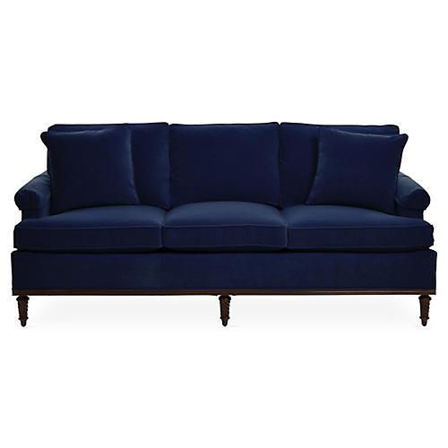 """Garbo 85"""" Sofa, Navy Velvet"""