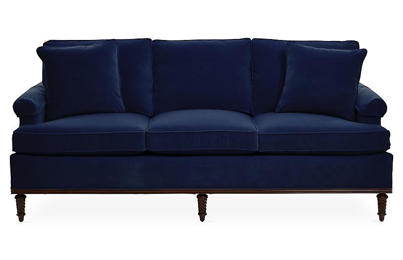 Garbo Sofa, Navy Velvet