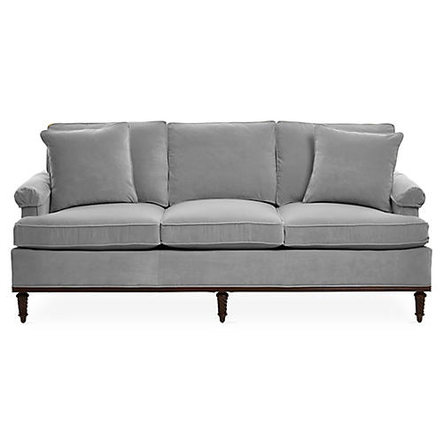 "Garbo 85"" Sofa, Gray Velvet"