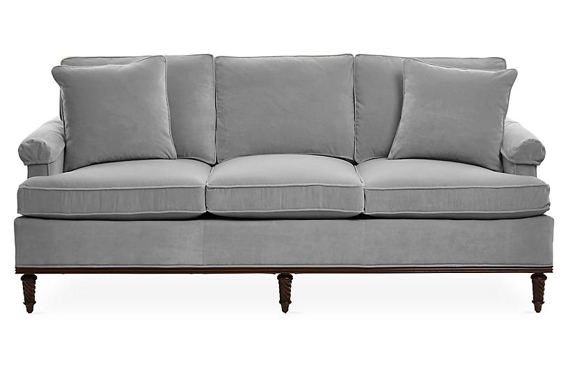 Garbo Sofa, Gray Velvet