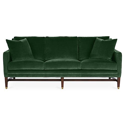 Arden Sofa, Emerald Velvet
