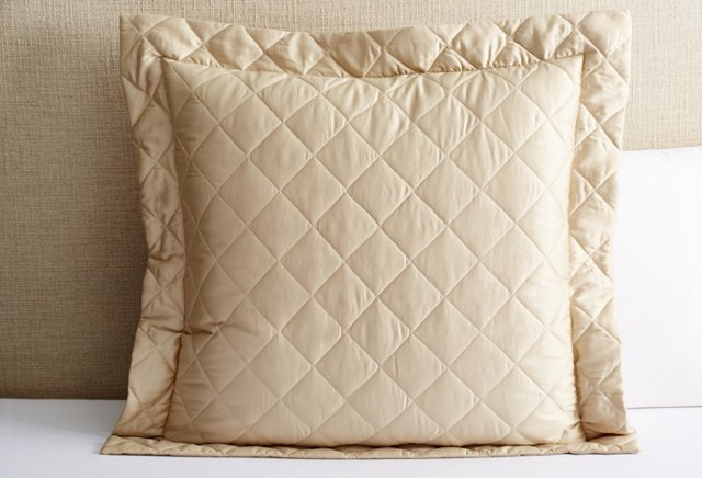 Diamond Quilted Euro Sham, Champagne