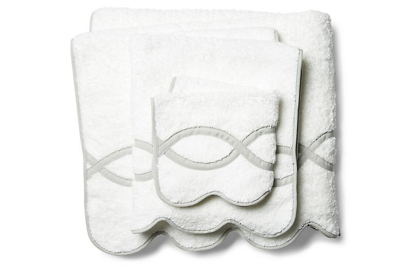 3-Pc Gianna Towel Set, Silver