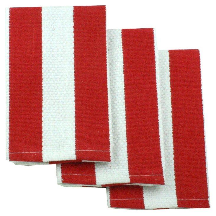 S/4 Stripe Dishcloths, Punch