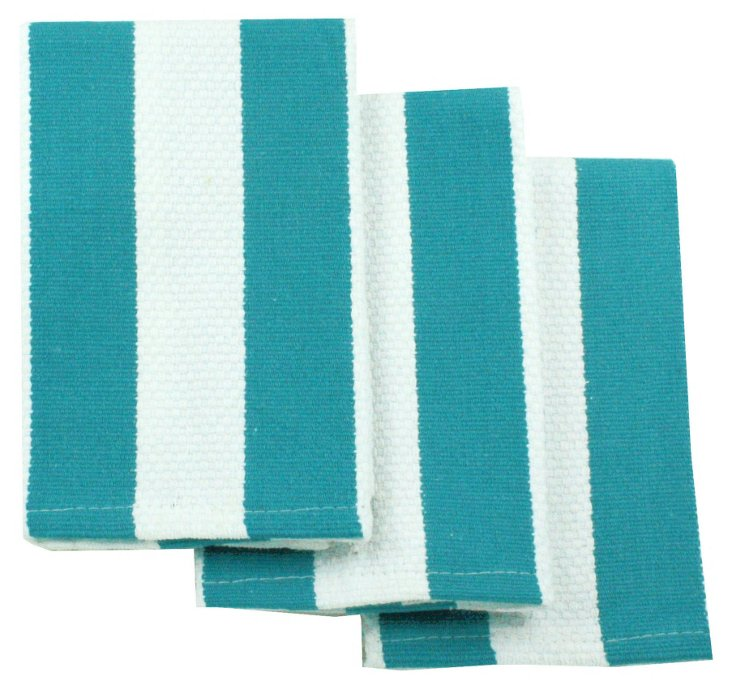 S/4 Stripe Dishcloths, Pacific