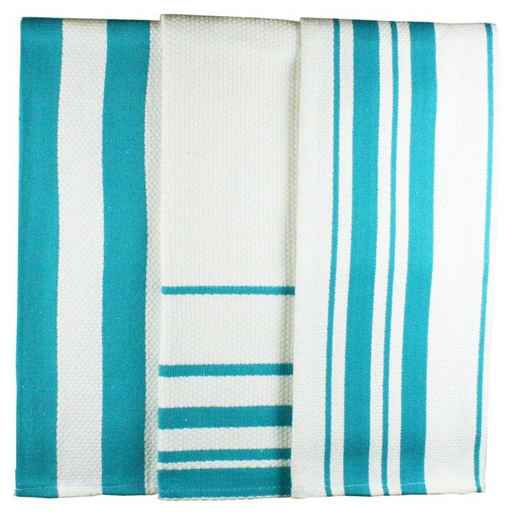 S/2 Stripe Dish Towels, Pacific