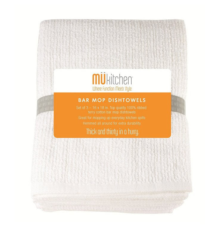 S/12 Bar Mop Towels, White